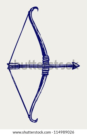 Bow and arrow. Doodle style. Raster version - stock photo