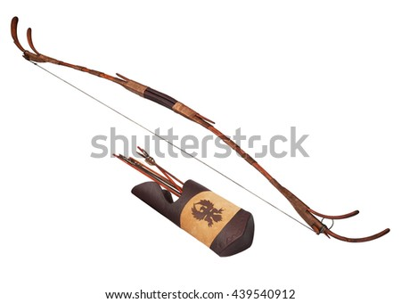 Bow and quiver with arrows isolated on white - stock photo