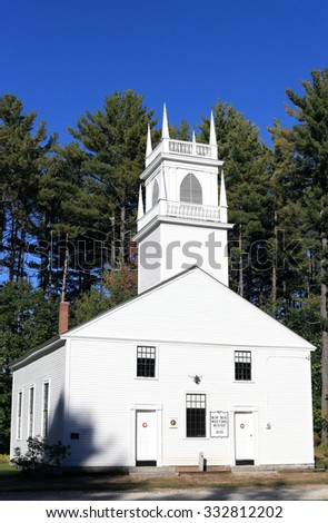 Bow Bog Public Meeting House:Traditional Architecture from New England - stock photo