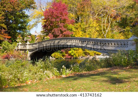 Bow Bridge, Central Park New York City - stock photo