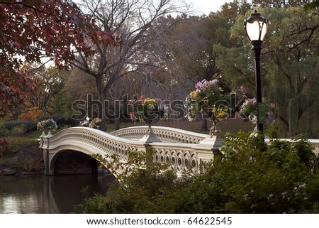Bow bridge - Central Park, New York City early in the morning - stock photo