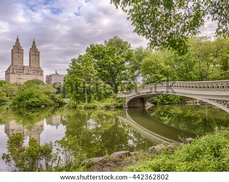 Bow bridge in the early morning in Central Park, New York City