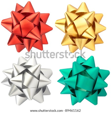 Bow collection isolated on white clipping path included - stock photo