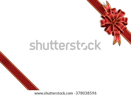 bow gift wrapping ribbon red ribbon isolated on a white background birthday celebration