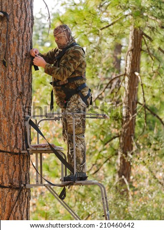 Bow hunter in a ladder style tree stand correctly attaching a fall arrest harness to a strap around the tree - stock photo