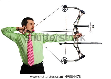 bow-hunter with a modern compound bow - stock photo