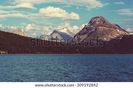 Bow Lake, Icefields Parkway, Banff National Park, Canada - stock photo