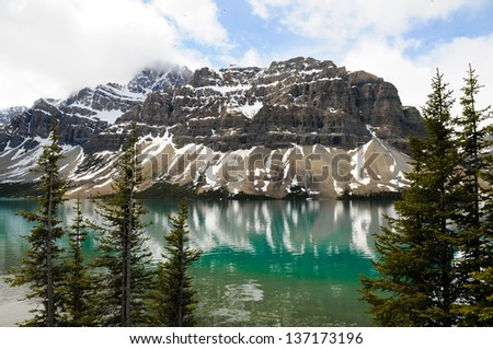 Bow Lake in daytime at Banff National Park, Alberta, Canada - stock photo