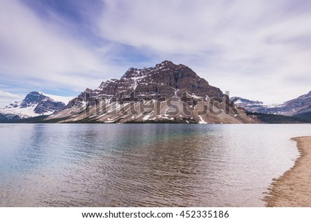 Bow Lake in the Canadian Rocky Mountains, Banff National Park, Alberta Canada - stock photo