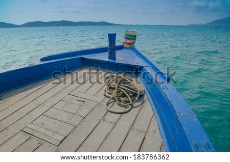 bow of a blue boat - stock photo