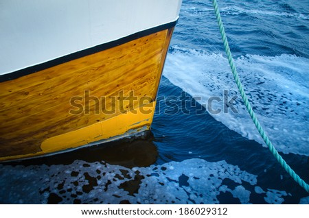 Bow of a fishing boat - stock photo