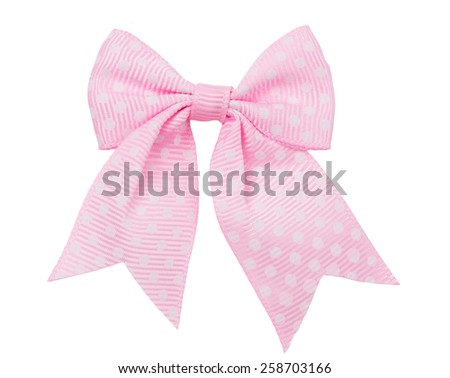 Bow, pink in white peas, on a white background as a design element - stock photo