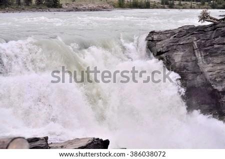 Bow River Bow Fall, Banff National Park, Alberta, Canada - stock photo