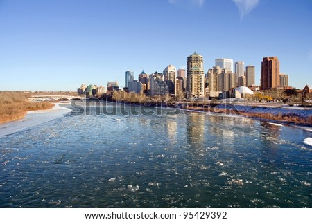 Bow River with Ice Flowing in month of December, Calgary, Alberta, Canada - stock photo