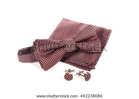 Bow tie, handkerchief and cufflinks. Wedding accessories groom. - stock photo