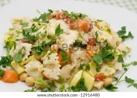 Bow tie pasta salad with parsley, carrots, garbanzo beans, summer squash, and minced garlic on white plate. - stock photo