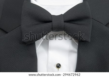 bow tie with shirt and suit closeup  - stock photo