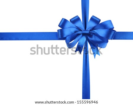 Bowknot of blue ribbon isolated on a white background.