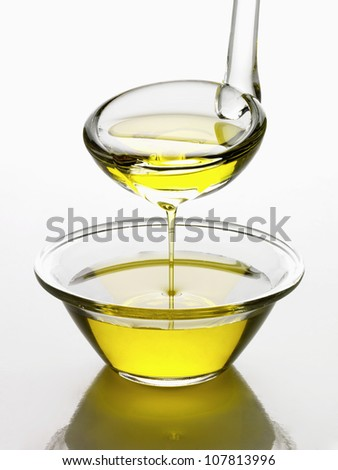 Bowl and ladle of oil - stock photo