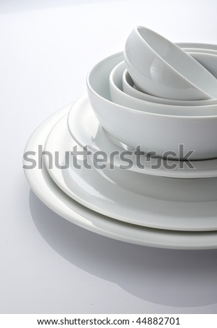 Bowl and plate - stock photo
