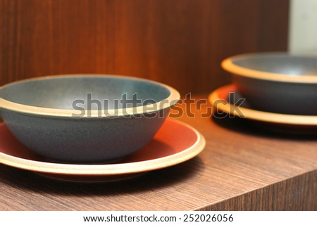 bowl and plate as decoration item - stock photo