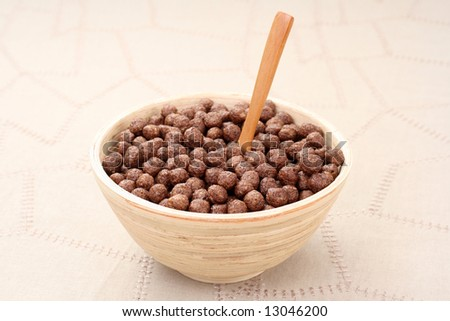 bowl full of chocolate corn flakes - breakfast