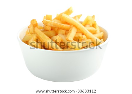 Bowl full of french fries isolated on white - stock photo