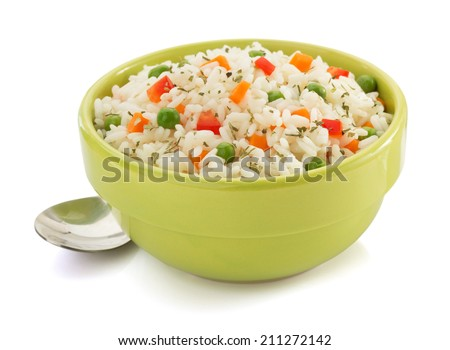 bowl full of rice isolated on white background - stock photo