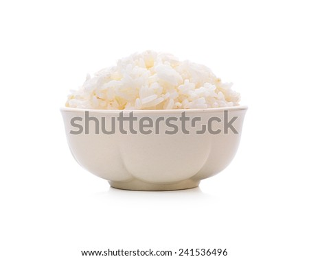 bowl full of rice on white with clipping path - stock photo