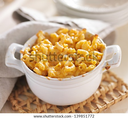 bowl of baked macaroni and cheese - stock photo