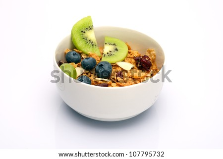 Bowl of cereal and healthy fruit