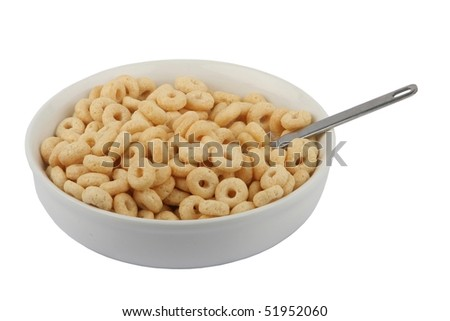 Bowl of cereal isolated on white background - stock photo