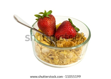 Bowl of cereal with clipping path - stock photo