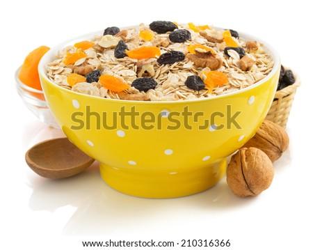 bowl of cereals muesli isolated on white background - stock photo