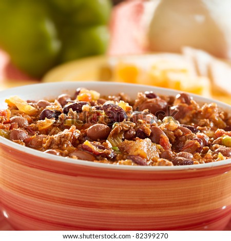 bowl of chili with beans and beef closeup - stock photo