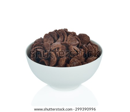Bowl of cocoa crunch cornflakes isolated on the white background. - stock photo