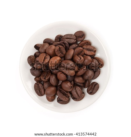 Bowl of coffee beans , isolated on white background