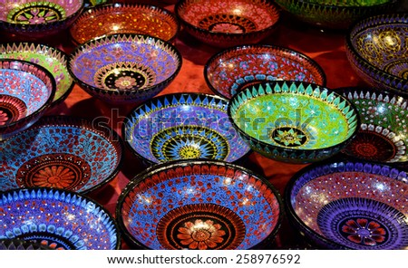 Bowl of colorful paint floral art in chiangmai thailand
