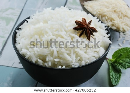 Bowl of cooked basmati rice /  Basmati rice bowl, selective focus - stock photo