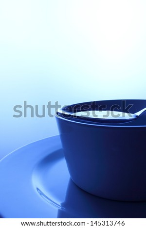 Bowl of crystalline water in blue dominance color