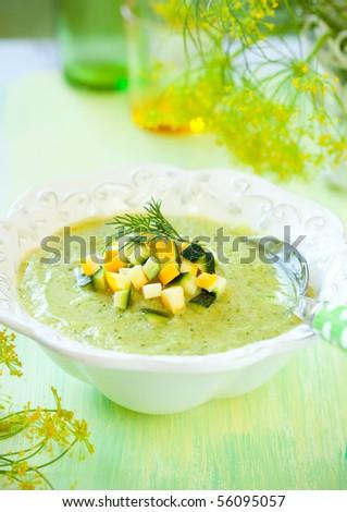 bowl of delicious zucchini soup - stock photo