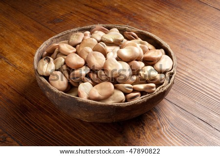 bowl of dried Broad Bean - stock photo