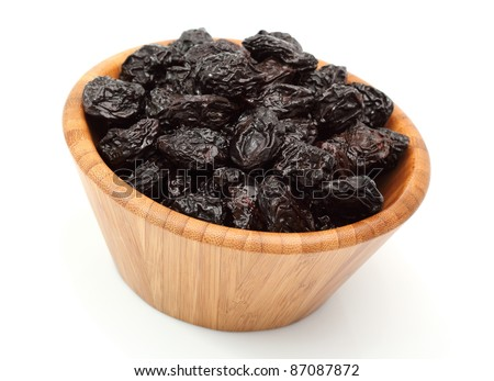 Bowl of dried prunes