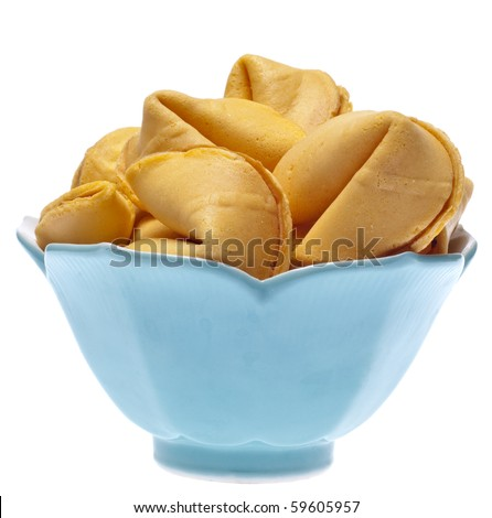 Bowl of Fortune Cookies Isolated on White with a Clipping Path. - stock photo