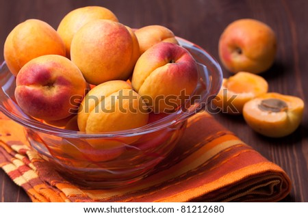 bowl of fresh and sweet apricots - stock photo