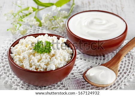 Bowl of fresh cottage cheese and sour cream - stock photo