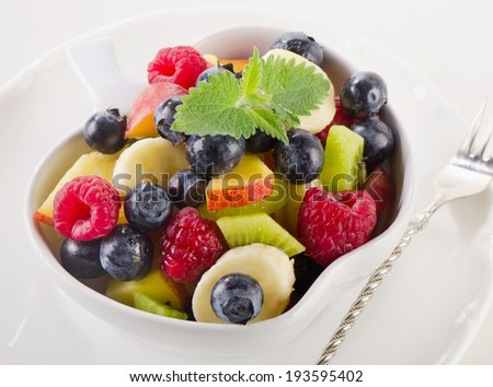 bowl of  fresh healthy fruit salad. Selective focus