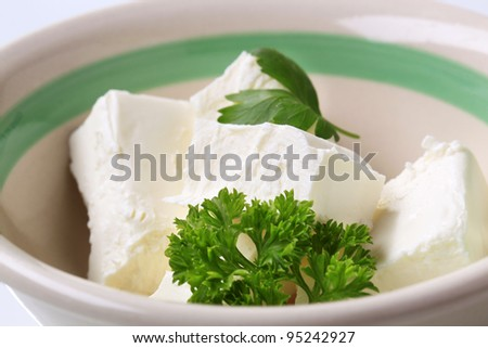 Bowl of fresh soft cheese