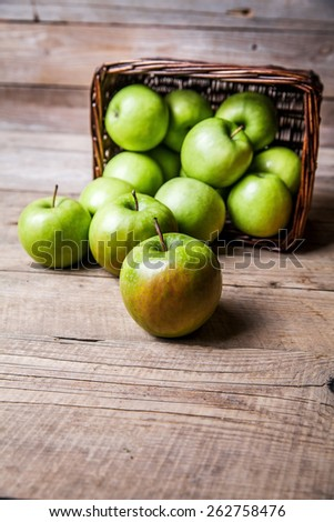 Bowl of green apples. ripe fruit - stock photo