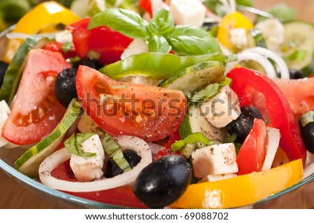 bowl of healthy greek salad close-up - stock photo